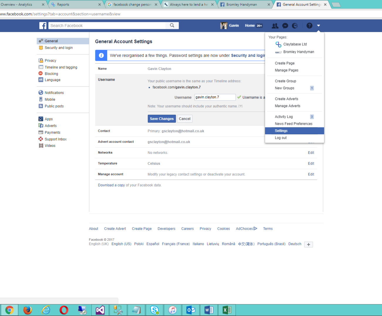 Changing a Facebook account from personal to business keeping URL