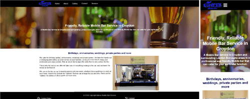 Mervs Mobile Bar web site